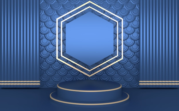 Blauwe abstracte geometrische achtergrond, het blauwe concept van het japanse stijlpodium. 3d teruggeven