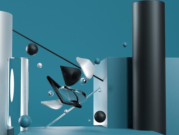 Blauwe abstracte vliegende geometrische objecten. zwart, blauw, glas en zilverkleuren. 3d render