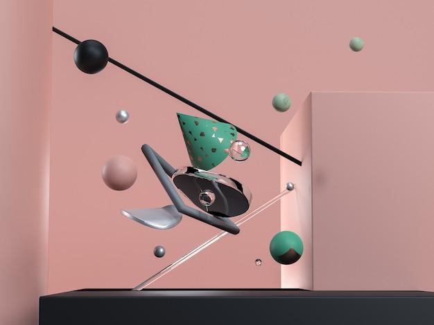 Blauwe abstracte vliegende geometrische objecten. zwart, roze, glas en groene kleuren. 3d render