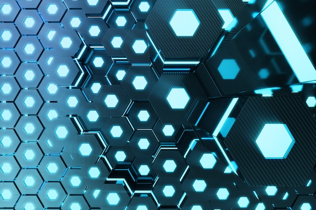 Blauwe abstracte zeshoekige gloeiende achtergrond, futuristisch concept. 3d-weergave