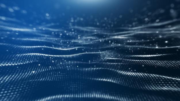 Blauwe achtergrond, digitale handtekening met deeltjes, sprankelende golven.