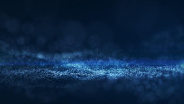 Blauwe achtergrond, digitale handtekening met golfdeeltjes, schittering, sluier en ruimte met scherptediepte.