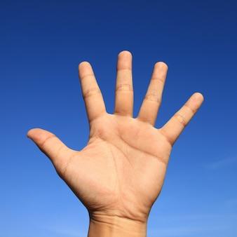 Blauwe achtergrond handen hand menselijk