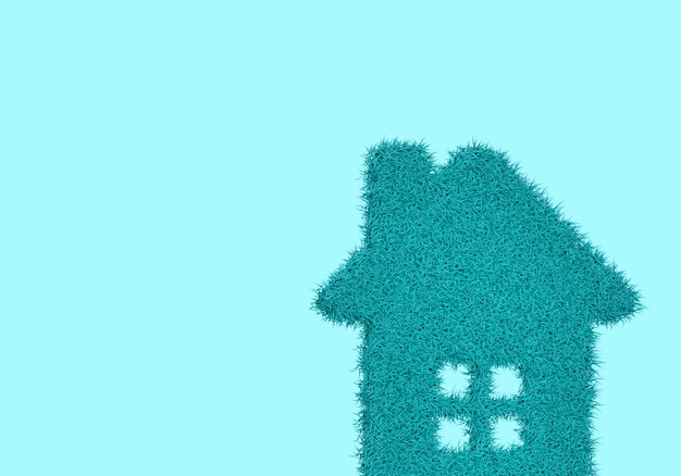Blauwe achtergrond met pluizig huis