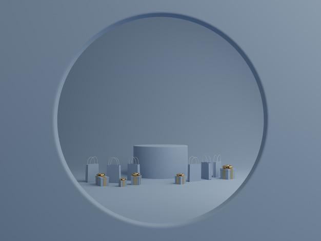 Blauwe achtergrond met podiummodel, geschenkdoos en boodschappentas voor product. 3d-weergave.