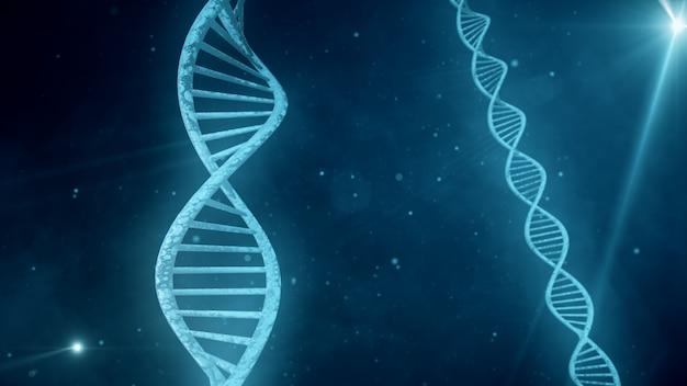 Blauwe achtergrond met roterende 3d illustratie van dna