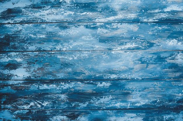Blauwe achtergrond van geschilderde planken