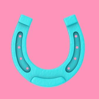 Blauwe antieke ijzeren roestige hoefijzer in duotone stijl op een roze achtergrond. 3d-rendering