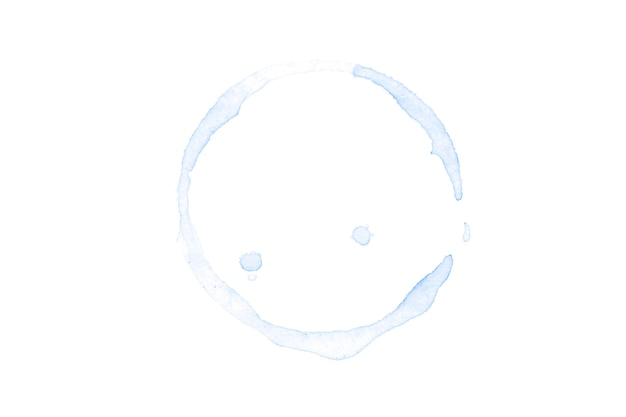 Blauwe aquarel cirkel geïsoleerd op een witte achtergrond