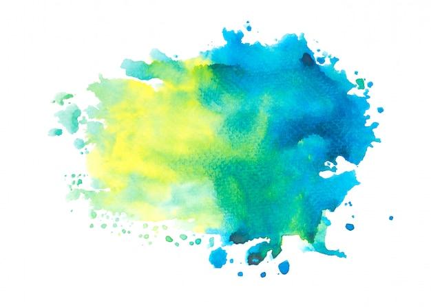 Blauwe aquarel vlek penseelstreek achtergrond