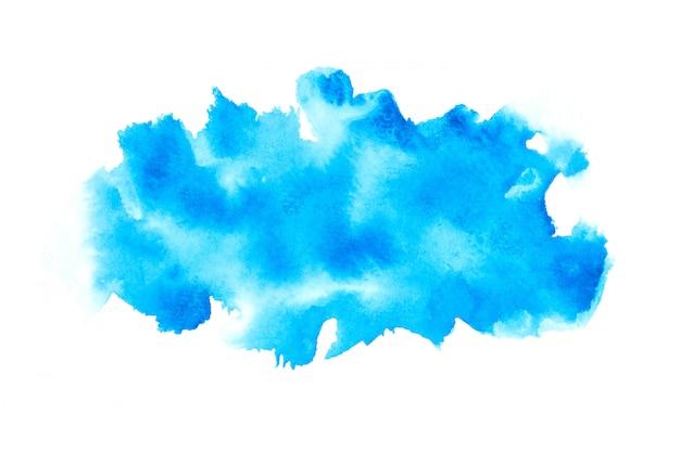 Blauwe aquarel vlek tinten penseelstreek achtergrond