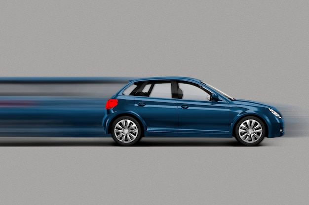 Blauwe auto in snelheidsbeweging/stretch-stijl