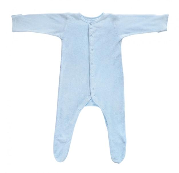 Blauwe babyslaper die op wit wordt geïsoleerd