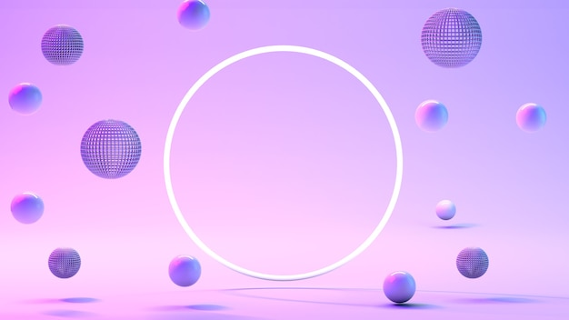 Blauwe ballen, blauwe bubbels op een roze achtergrond.