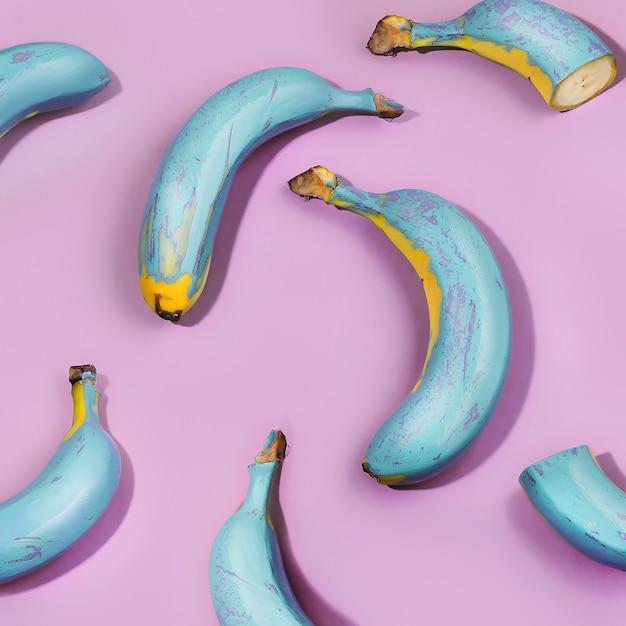 Blauwe bananen op roze achtergrond. behang voor achtergrond en banner