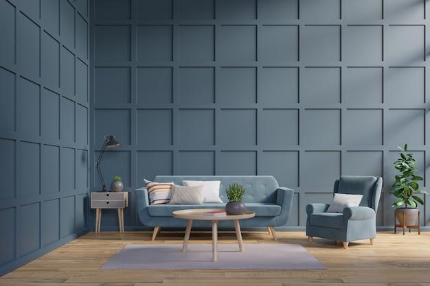 Blauwe bank en leunstoel tegen donkerblauwe muur met kabinet