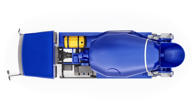 Blauwe betonmixer vrachtwagen witte achtergrond 3d-rendering