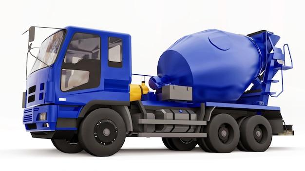 Blauwe betonmixer vrachtwagen witte achtergrond driedimensionale afbeelding van bouwmachines