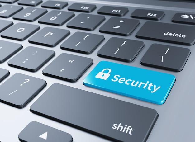 Blauwe beveiligingsknop op het toetsenbord. 3d illustratie