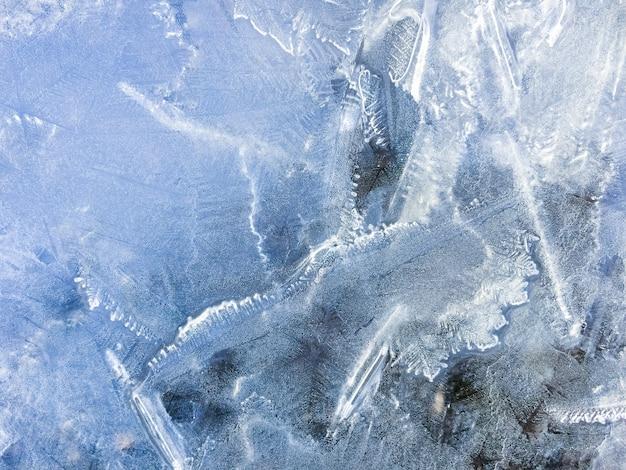Blauwe bevroren water ijs textuur achtergrond