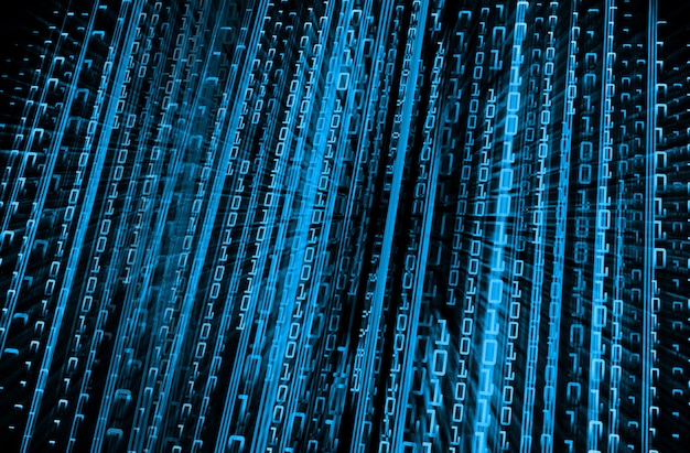Blauwe binaire cyber circuit toekomstige technologie concept achtergrond