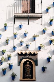 Blauwe bloempotten aan de muur bloemen in potten in zonsonderganglicht