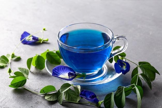 Blauwe bloemthee van vlindererwt op grijs