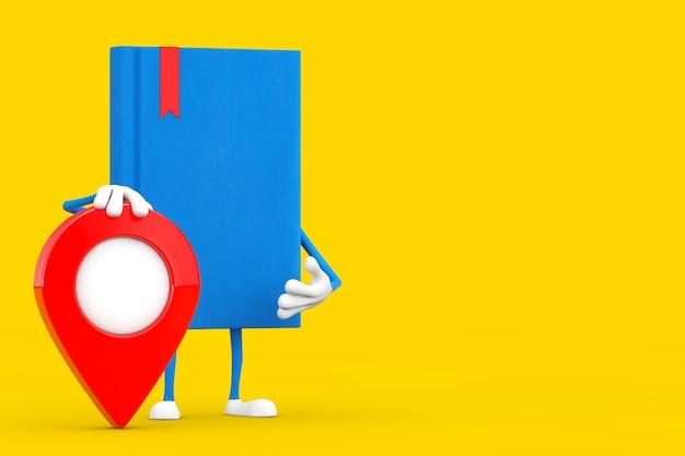 Blauwe boekkaraktermascotte met kaartwijzerspeld op een gele achtergrond. 3d-rendering