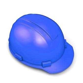 Blauwe bouwhelm geïsoleerd op wit. 3d render illustratie.
