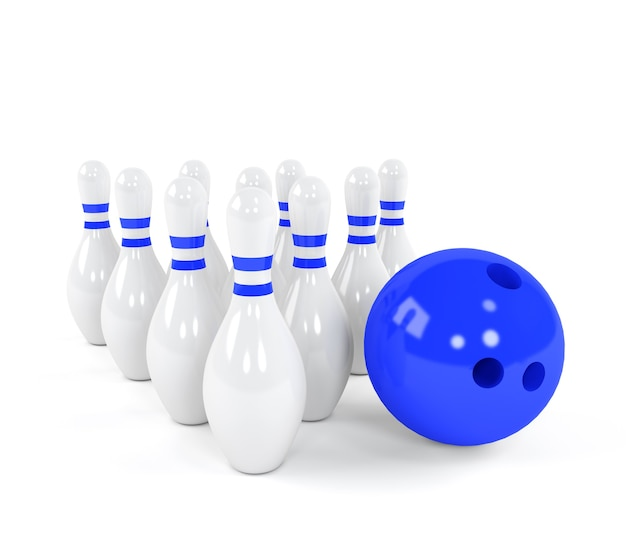 Blauwe bowlingbal met de witte kegels