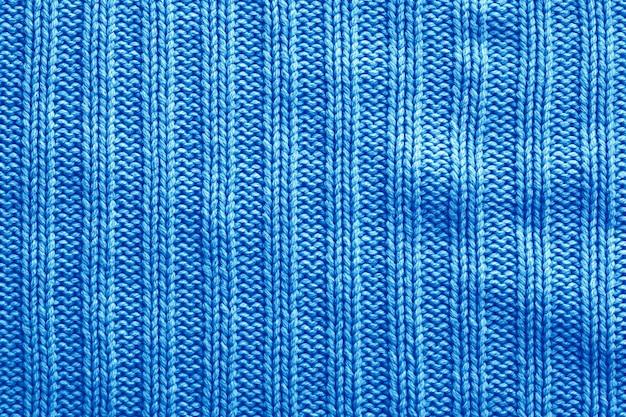 Blauwe breien katoen textuur achtergrond