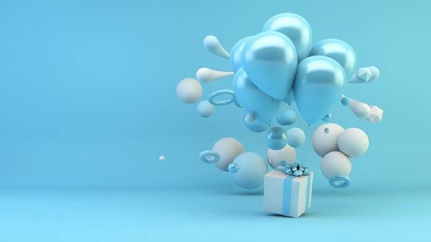 Blauwe cadeau met ballonnen omgeven door geometrische vormen 3d-rendering
