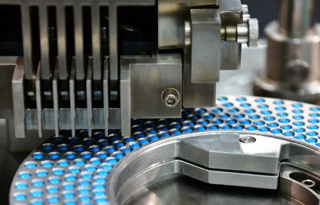 Blauwe capsule geneeskunde pil productielijn