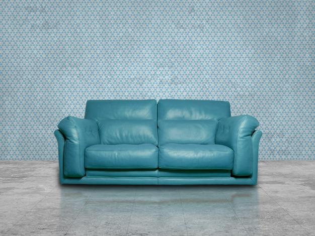 Blauwe coch in blauwe kamer