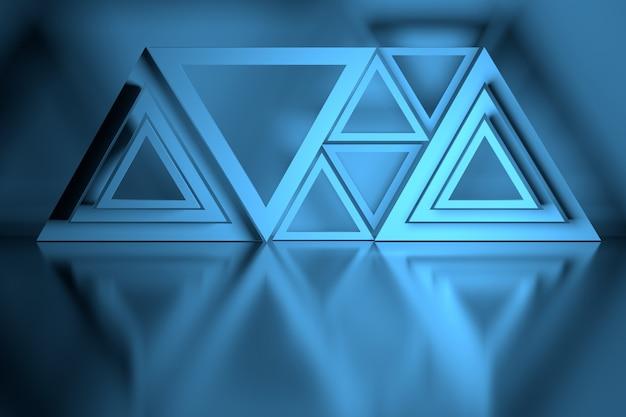 Blauwe compositie met veel driehoeksvormen