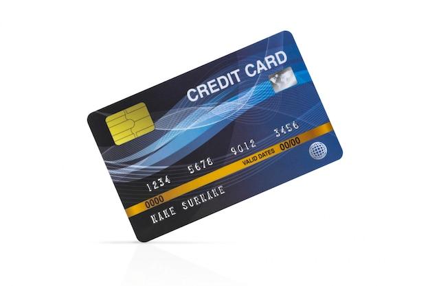 Blauwe creditcard geïsoleerd op wit met uitknippad.