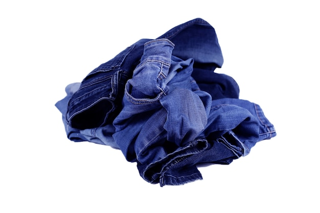 Blauwe denimtextuur, samenstelling van denimbroek, stapel