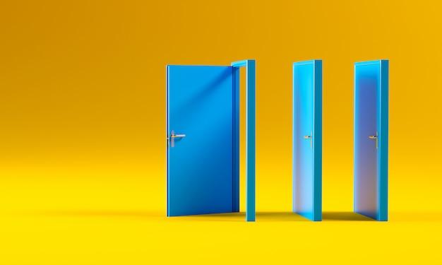 Blauwe deuren op geel