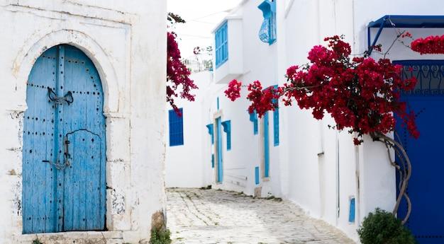 Blauwe deuren, raam en witte muur van het gebouw