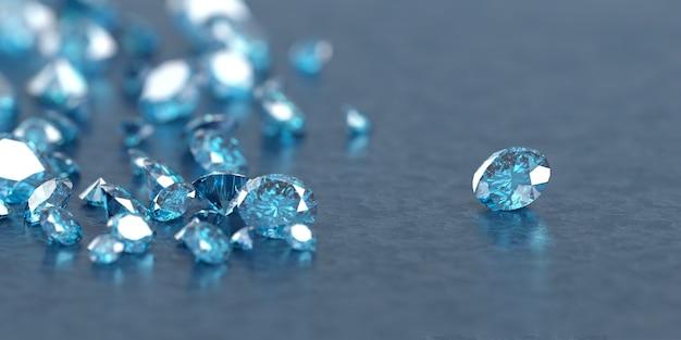 Blauwe diamantsaffier met groep diamanten, 3d illustratie