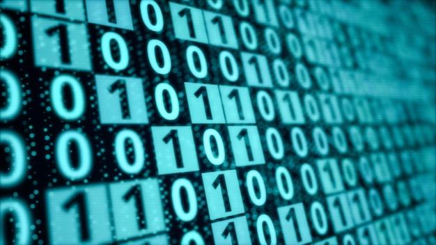 Blauwe digitale binaire codematrix op het scherm van de computermonitor, patroon van bitgegevensblokverwerking, moderne cyberveiligheid codering technologie concept achtergrond