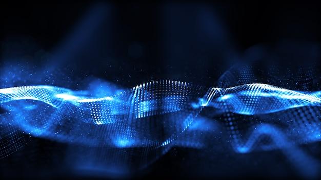 Blauwe digitale deeltjes golfstroom met bokeh abstracte achtergrond.