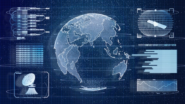 Blauwe digitale hud aarde wereld informatie scannen hologram gebruikersinterface achtergrond. militaire en ruimtevaarttechnologie concept