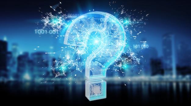 Blauwe digitale vraagtekensachtergrond