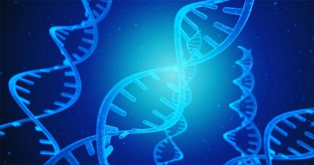 Blauwe dna-structuur en cellen onder menselijke dna-systeem 3d illustratie