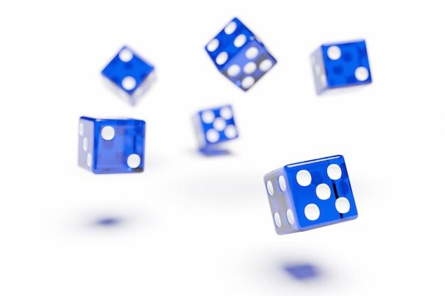 Blauwe dobbelstenen vliegen op witte achtergrond. twee dobbelstenen casino spel sjabloon concept. casinoachtergrond.