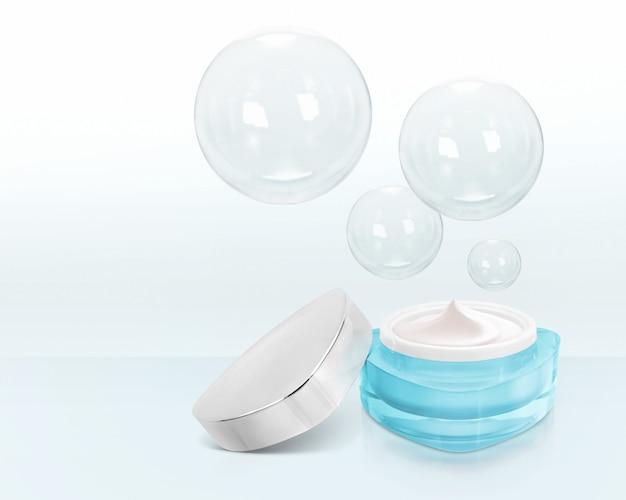 Blauwe driehoek cosmetische pot met bubbels