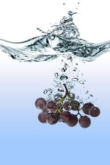 Blauwe druif in het water gevallen met splash geïsoleerd op wit