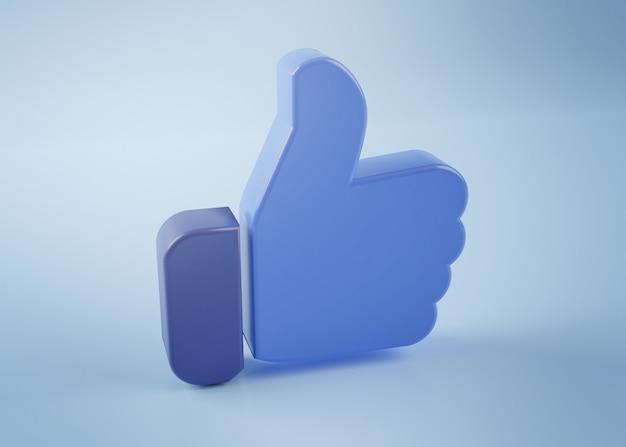Blauwe duim omhoog als pictogram 3d-rendering