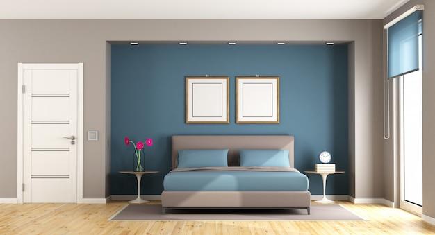Blauwe en bruine moderne slaapkamer